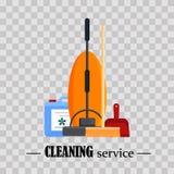 Reinigungsservice Stellen Sie Hausreinigungswerkzeuge mit Staubsauger, hölzerner Besen, rote Schaufel auf transparentem Hintergru Lizenzfreies Stockbild