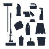 Reinigungsservice Stellen Sie Hauswerkzeugikonenlogoschwarzschattenbild lokalisiert auf weißem Hintergrund, flache Illustration,  Stockfotos
