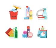 Reinigungswerkzeug-Vektorsatz Reinigungsmittel für Reinigungshaus oder Hotel stock abbildung