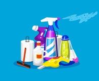 Reinigungswerkzeuge Hausikonen f?r Plakat Waschmaschine, Reinigungsmittel-Reiniger für Wohnungen, Wassereimer für das Wischen lizenzfreie abbildung