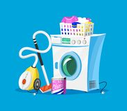 Reinigungswerkzeuge Hausikonen f?r Plakat Waschmaschine, Reinigungsmittel-Reiniger f?r Wohnungen, Wassereimer f?r das Wischen lizenzfreie abbildung