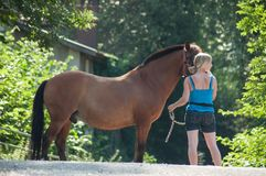 Portrait of blond woman and brown horse standing on the road stock images