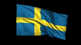 Reino de colocación inconsútil de la bandera de Suecia que agita en el viento, canal alfa incluido almacen de video