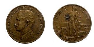 Reino 1909 de Prora Vittorio Emanuele III da moeda de cobre de cinco 5 liras dos centavos de Itália Fotos de Stock Royalty Free