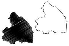 Reino dos Países Baixos, ilustração da província de Drenthe do vetor do mapa da Holanda, mapa de Drenthe do esboço do garrancho ilustração royalty free
