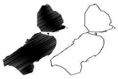 Reino dos Países Baixos, ilustração da província de Flevoland do vetor do mapa da Holanda, mapa de Flevoland do esboço do garranc ilustração royalty free