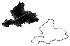 Reino dos Países Baixos, ilustração da província de Güéldria do vetor do mapa da Holanda, mapa de Guelders do esboço do garrancho ilustração do vetor