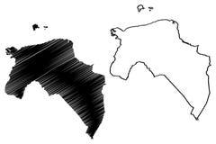 Reino dos Países Baixos, ilustração da província de Groningen do vetor do mapa da Holanda, mapa de Groningen do esboço do garranc ilustração do vetor