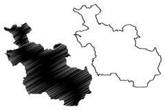 Reino dos Países Baixos, ilustração da província de Overijssel do vetor do mapa da Holanda, mapa de Overijssel do esboço do garra ilustração royalty free