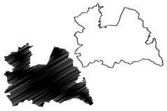 Reino dos Países Baixos, ilustração da província de Utrecht do vetor do mapa da Holanda, mapa de Utrecht do esboço do garrancho ilustração royalty free