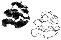 Reino dos Países Baixos, ilustração da província de Zeeland do vetor do mapa da Holanda, mapa de Zealand do esboço do garrancho ilustração do vetor