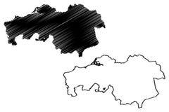 Reino norte dos Países Baixos, ilustração da província de Brabante do vetor do mapa da Holanda, mapa de Brabante do esboço do gar ilustração stock