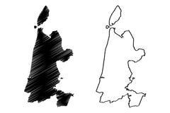 Reino norte dos Países Baixos, ilustração da província da Holanda do vetor do mapa da Holanda, mapa norte da Holanda do esboço do ilustração do vetor