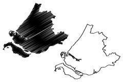 Reino sul dos Países Baixos, ilustração da província da Holanda do vetor do mapa da Holanda, mapa sul da Holanda do esboço do gar ilustração stock