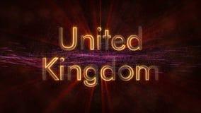 Reino Unido - animación de colocación brillante del texto del nombre de país libre illustration