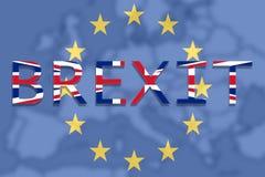 Reino Unido com o Brexit no fundo da união de Europa Imagens de Stock