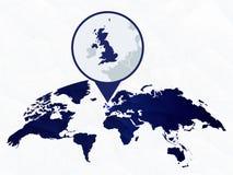 Reino Unido detalhou o mapa destacou no mapa do mundo arredondado azul ilustração royalty free