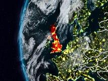 Reino Unido do espaço durante a noite Ilustração Royalty Free