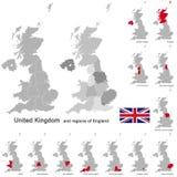 Reino Unido e regiões de Inglaterra ilustração royalty free