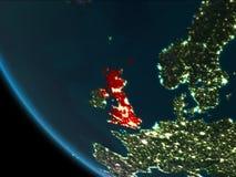 Reino Unido en la noche de la órbita ilustración del vector