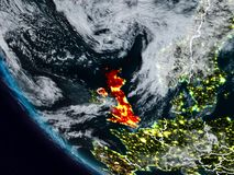 Reino Unido en la noche del espacio Stock de ilustración