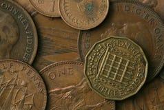 Reino Unido viejo acuña textura Fotos de archivo