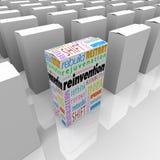 Reinvenção uma vantagem competitiva da caixa do produto novo melhor Fotos de Stock