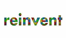 Reinvent части головоломки слово переделает рестарт Innovate Стоковая Фотография RF
