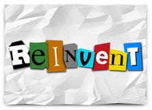 Reinvent Word Cut Out Letters Redo Refresh Rethink. Reinvent word in cut out letters to illustrate a product or idea refresh, redo, remake, renovation, revamp or Royalty Free Stock Photo