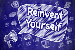 Reinvent Yourself - Doodle Illustration on Blue Chalkboard. Royalty Free Stock Photography