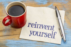 Reinvent yourself - napkin handwriting Royalty Free Stock Images