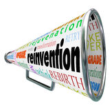 Reinvention Bullhorn Megaphone Redo Restart Rebuild. Reinvention and related words like restart, rebuild, redo, retry, revitalize and rejuvenation on a bullhorn Royalty Free Stock Images