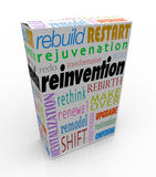 Reinvention Product Package Box Renew Refresh Revitalize. Reinvention words on a product or box or package to illustrate merchandise that has undergone a rebuild Stock Photos