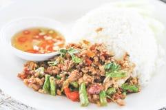 Reis überstieg mit angebratenem Schweinefleisch und Basilikum, thailändisches Lebensmittel, asiatisches Lebensmittel Stockfotografie
