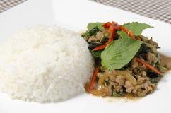 Reis überstiegen mit angebratenem Schweinefleisch und Basilikum Lizenzfreies Stockfoto