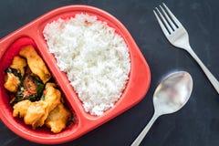 Reis überstiegen mit angebratenen Fischen und Basilikum Lizenzfreies Stockbild