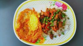 Reis überstiegen mit angebratenen knusperigen Schweinefleisch- und Basilikumblättern, Thailand Stockfoto
