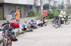 Reis aan Tibet door fiets Royalty-vrije Stock Foto