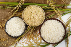 Reis auf Sackhintergrund Stockfotos