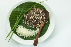 Reis auf Scheibe Stockfotografie