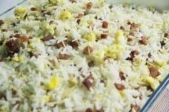 Reis Biro Birorezeptnahrungsmittelköstliches Mahlzeitdetail-Mittagessen Sao Paulo Brazil lizenzfreies stockbild