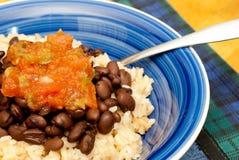 Reis, Bohnen und Salsa mit Gabel Lizenzfreies Stockbild