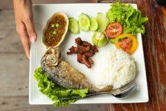 Reis, Chili-Sauce, Fische und Schweinefleisch brieten mit Gemüse auf einem Whit stockfotos