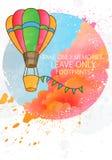 reis concept Affiche of het malplaatje van de groetkaart Ballon die boven Wolken vliegen vector illustratie