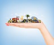 reis concept De attributen van de handholding van reis en vakantie Stock Fotografie