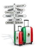 reis concept De koffers en voorzien wat van wegwijzers in Mexico te bezoeken Royalty-vrije Stock Foto's