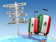 reis concept De koffers en voorzien wat van wegwijzers in Mexico te bezoeken Stock Afbeeldingen