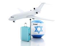 reis concept Koffer, vliegtuig en de vlagpictogram van Israël 3d illustr Stock Foto's