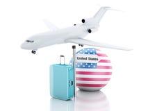 reis concept Koffer, vliegtuig en de vlagpictogram van Verenigde Staten 3d illu Royalty-vrije Stock Afbeeldingen