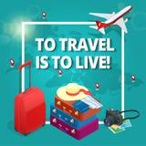 reis concept Reiszakken, paspoort, fotocamera en reiskaartje en vliegtuig in hemel Isometrische vlakke 3d vector royalty-vrije illustratie